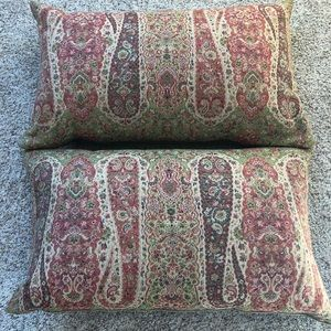 Pottery Barn (2) matching paisley lumbar pillows